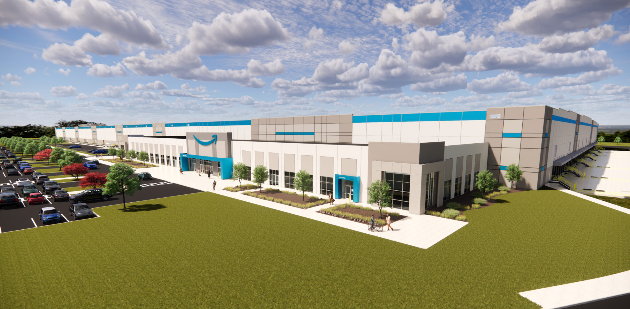 Rendering of Amazon fulfillment center coming to Delta Township, Michigan in 2022