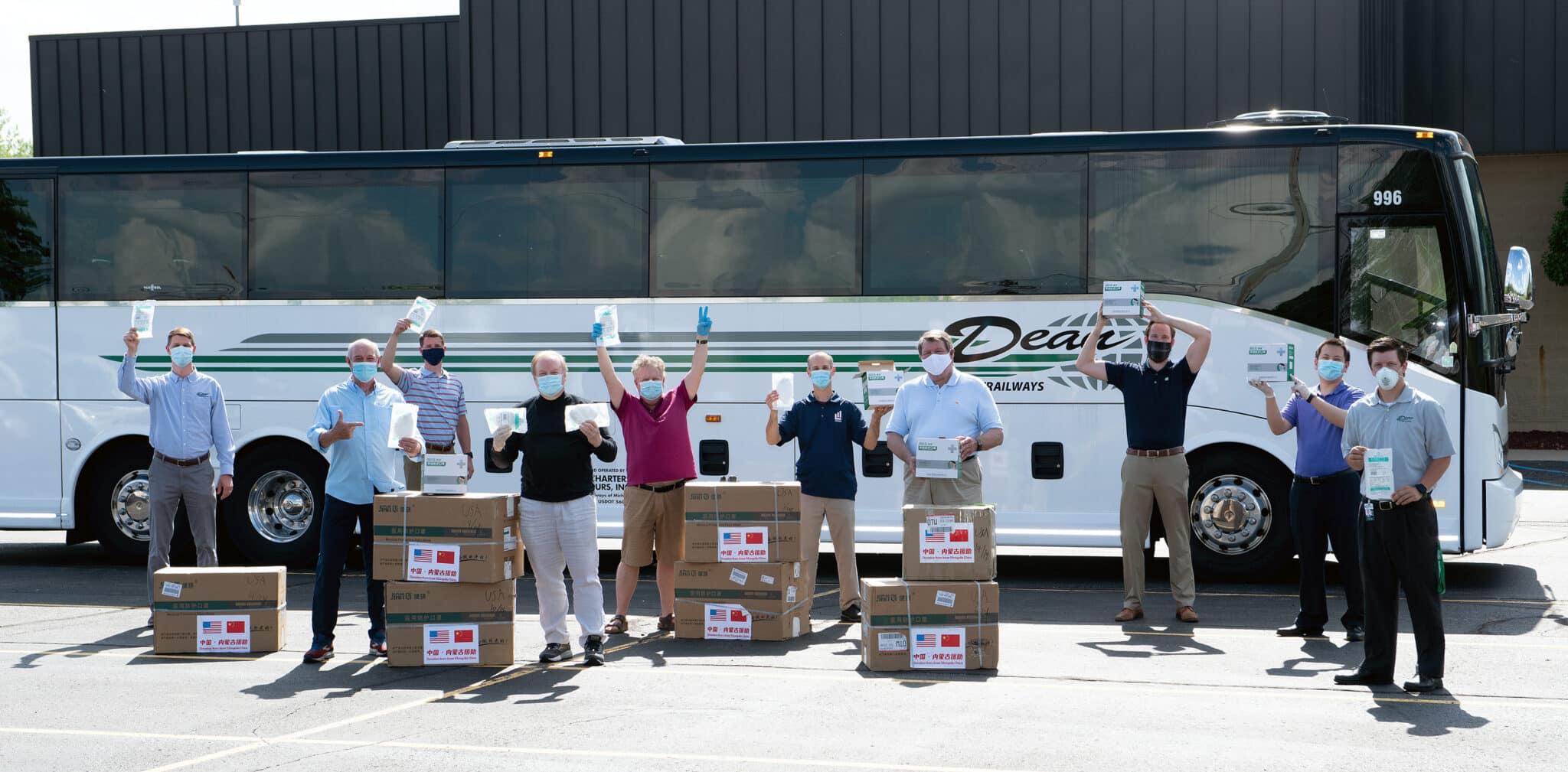 LEAP team at Dean Transportation Preparing to Deliver Medical Mask Dontation